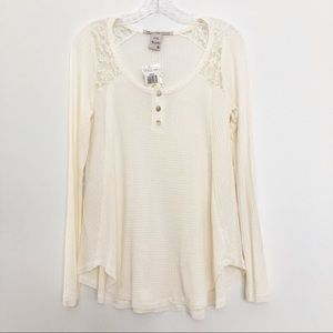 American Rag Lace Waffle Knit Long Sleeve Top